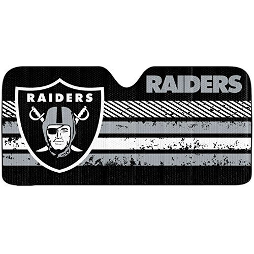 1pc NFL Oakland Raiders Black Gray Logo Reflective Aluminum Sun Shade Universal