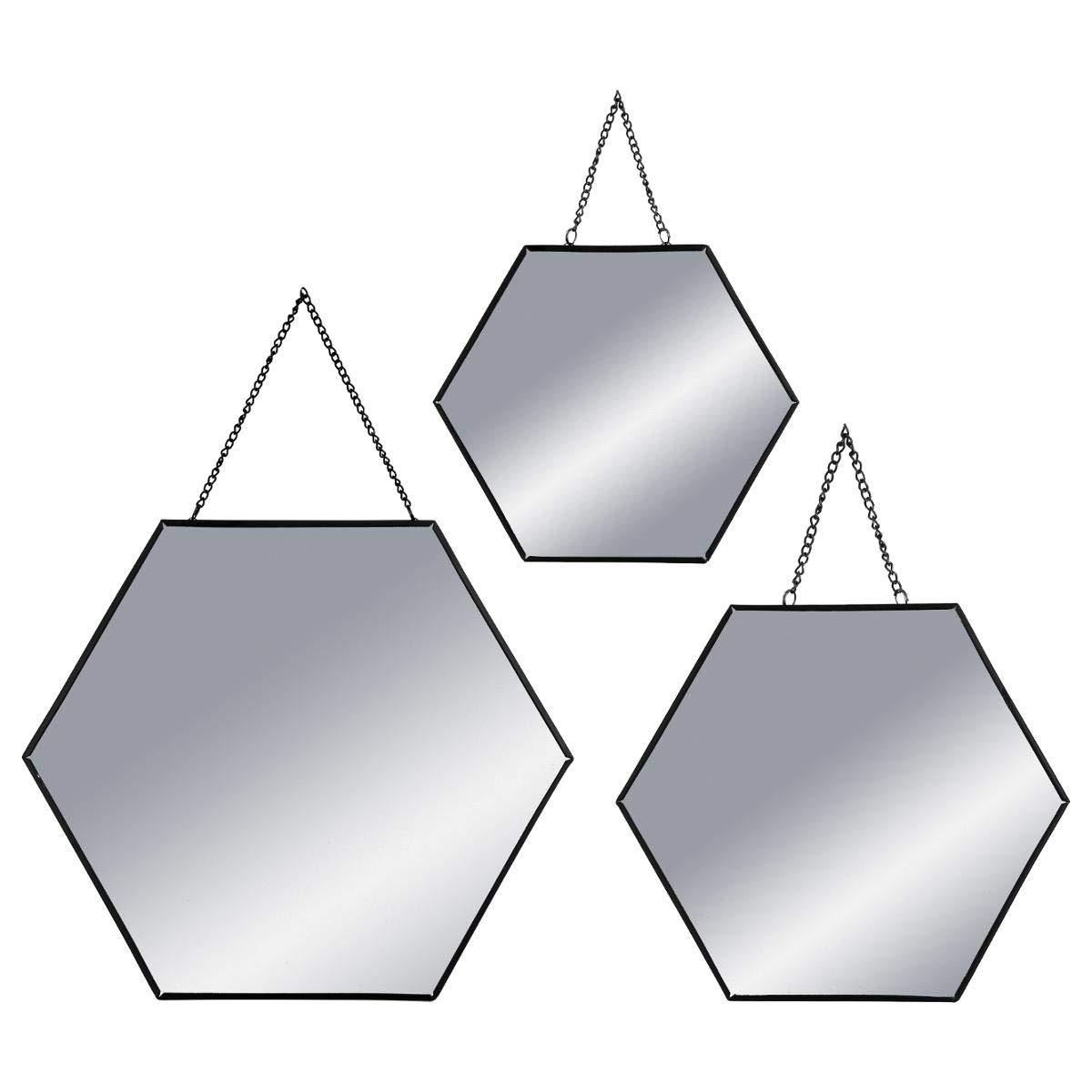 ATMOSPHERA Spiegel Wandspiegel Sechseck Schwarz Metall 3-er Set
