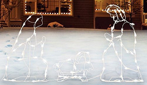 Outdoor Lighted White Nativity Set in US - 4