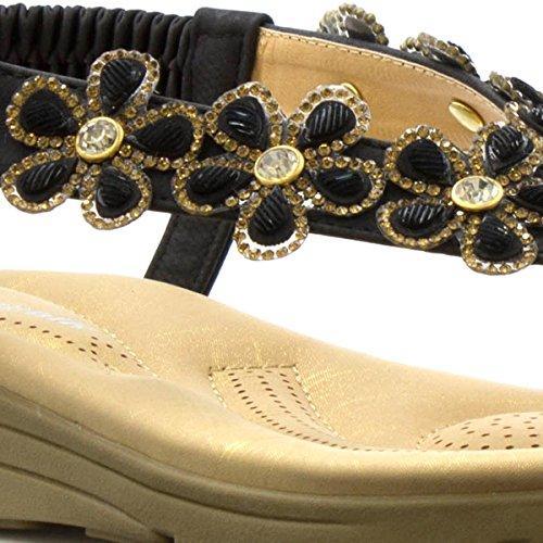 Noir Sandale Coussin Marche Noir Après Fleur De Pieds Confort 1wfwz6x