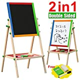 Gotobuy 2 In 1 Children Wooden Black/ White board Easel Stand Learning Board