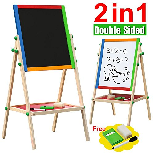 Wooden 2-in-1 Black board and White board - 1