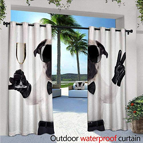 BlountDecor Pug Patio Curtains W96 x L84 Pug with Champagne Glass and Peace Sign Cool Looking Dog Celebration Animal Outdoor Curtain for Patio,Outdoor Patio Curtains Black White (Peace Sign Connector)