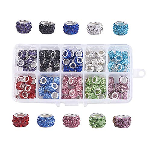 Craftdady 100Pcs/box 10 Assorted Colors Rondelle Polymer Clay Large Hole European Beads 11~12x7~7.5mm Slide Bead Spacers for DIY Snake Chain Charm Bracelet Making with 5mm Big Hole
