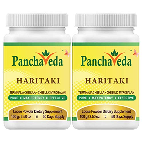 Panchaveda Haritaki Powder (2 Pack) Ayurveda Wild Crafted Pure Herb Hawaban Harde - Terminalia chebula Harad Churna Natural Laxative Herbal Stool Softener, Colon Cleanse Detox Weight Loss Constipation