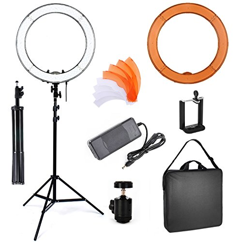 PHOTO MASTER 18 Inch Dimmable LED Camera Photo Video Ring Light and Light Stand Lighting Kit, Included Dimmable Ring Light,Tripod Stand,Diffuser,Phone Holder,Ball Head,Screw Adapter for Youtube Vine V by Happyjoy