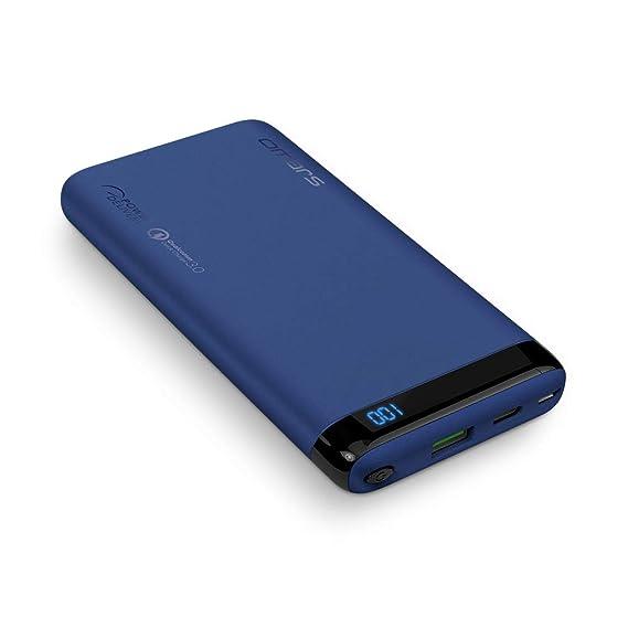 Omars Powerbank 10000mAh Externer Akku Quick Charge 3.0 USB C PD 12V/1.5A 9V/2A USB-A 18W Digital Display für iPhone X 8 Sams