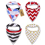 iZiv(TM) 4 PACK Baby Bandana Drool Bibs with Adjustable Snaps, Waterproof TPU Lining 0-2 Years (Color-2)