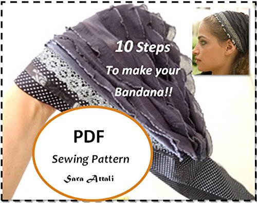 How To Sew your Ruffle Bandana PATTERN EMAIL DIGITAL DOWNLOAD Sewing Head Covering Pattern Tichel PDF Pattern Headscarf Headband