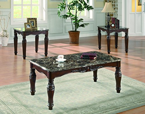 (Coaster Traditional Brown Faux Marble Three Piece Occasional Table Set)