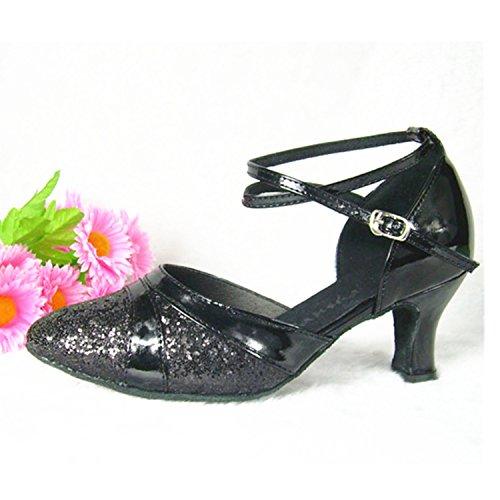 Ballroom Women's Toe Round W960 Tango Heel Dance Latin Salsa Shoes Black Shoesland Dance Chunky fw8TxF5Fq