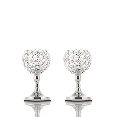 Brilliant Vincigant Silver Bowl Candle Holders Crystal Candle Stand For Home Decor Dining Coffee Table Centerpieces National Day Decoration Set Of 2 Download Free Architecture Designs Grimeyleaguecom
