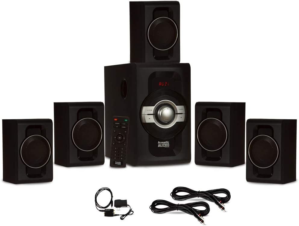Acoustic Audio AA5240 Home Theater 5.1 Bluetooth Speaker System with Optical Input and 2 Extension Cables