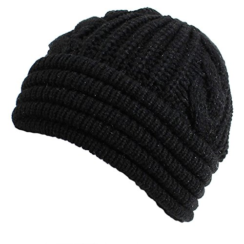 BSB AN. Black Cable Knit Winter Hat Womens Chenille Plush Lined Ribbed