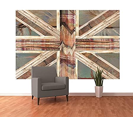 1 Wall Vintage Shabby Chic Union Jack Flag Feature Wallpaper Mural Wood Multi