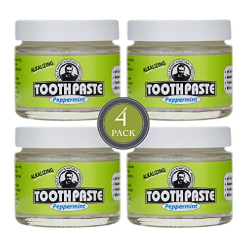 Uncle Harry's Natural & Fluoride-free Remineralizing Toothpaste - Freshens Breath & Strengthens Enamel - Peppermint (4 pack, 3 oz. jar) (Best Natural Toothpaste Reviews)