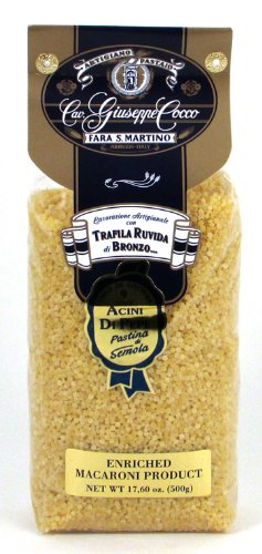 Giuseppe Cocco (6 pack) Acini Di Pepe Artisan Pasta hand-made slow dried in 500g bags from Italy