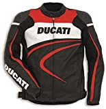 Ducati Perforated Sport Leather Jacket Black Red White by Dainese Size 54