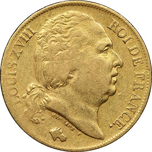 1818 France 20 Francs Gold Coin, King Louis XVIII, Very Fine ()