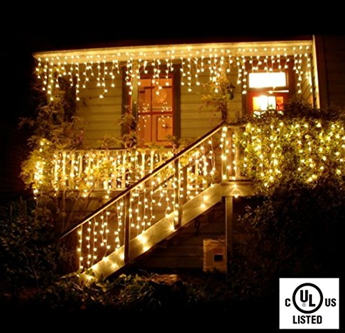 30vdc Output (Icicle Lights Curtain String Lights-DOULINE Fairy String Lights,96LED,10.5ft/3.2M,30V Safe Voltage Output,Patio Lights for Christmas,Halloween,Wedding,Party Backdrops, UL Listed (Warm White))