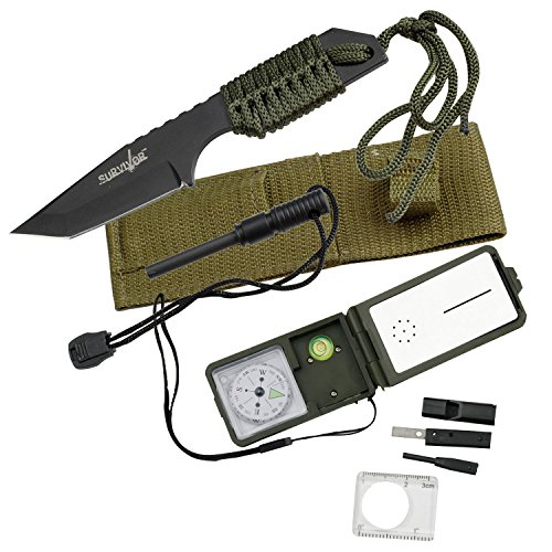 Survivor-AMZ-HK-1-with-HK-106320-A-Fixed-Blade-Outdoor-Knife-and-Survival-Kit-Black-Tanto-Blade-Green-Cord-Wrapped-Handle-7-Inch-Overall