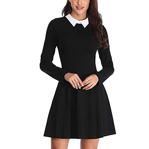 955c9f8865a2b Toponly Women's Long Sleeve Casual Peter Pan Collar Fit and Flare ...