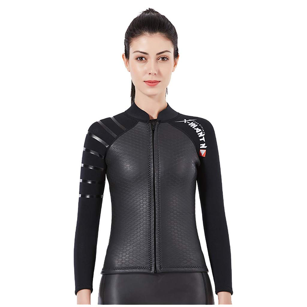 MILIMIEYIK Women's 3mm Wetsuits Jacket Long Sleeve Neoprene Wetsuits Top Swim Shirt Rash Guard Top Waist Bathing Swimsuit Black