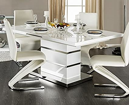 Image Unavailable Not Available For Color Midvale White And Chrome Extendable Rectangular Dining Table
