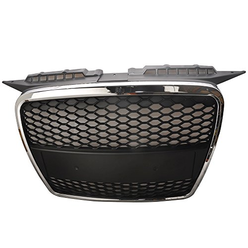 - Grille Fits 2006-2008 Audi A3   RS Style ABS Chrome Black Front Bumper Hood Grill by IKON MOTORSPORTS   2007