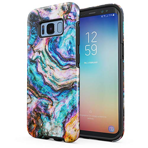 Colourful Seashell Marble Print Samsung Galaxy S8 Plus Silicone Inner/Outer Hard PC Shell Hybrid Armor Protective Case Cover