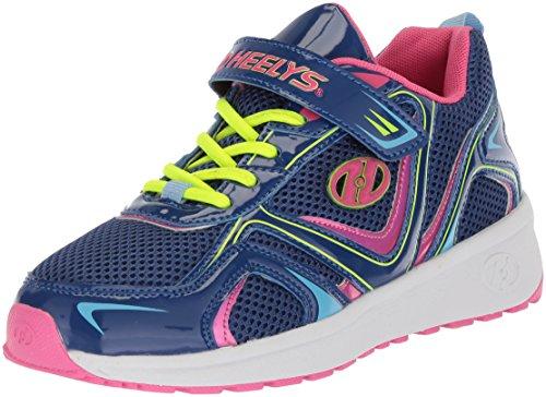 Heelys Girls' Rise X2 Tennis Shoe, Blue/Pink/Yellow, 12c M US Little Kid