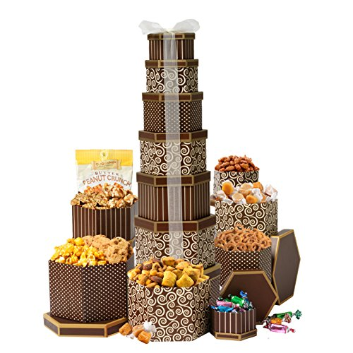 Broadway Basketeers Gift Tower Deluxe With 7 Gift boxes of Gourmet Chocolates, Nuts, Sweets & More. Stands Two Feet High (Box Of Goodies)