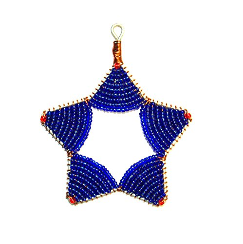 (Glass Bead Star Fair Trade Ornament (Dark Blue))