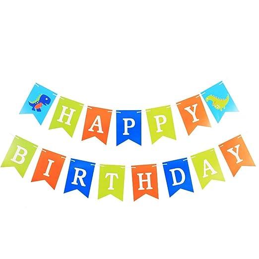 Amosfun Feliz cumpleaños Dinosaur Banner Cumpleaños Papel ...