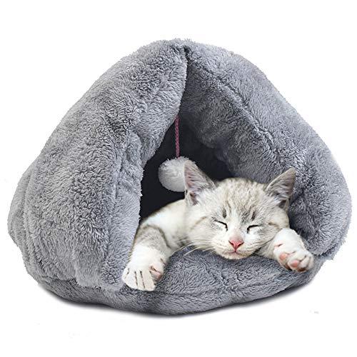 WEAO Washable Cat Nest Kitten Nest Pet Cat Sleeping Bag Cat Nest Cotton Pad Kennel Rest and Sleep, Arctic Velvet Material, 2 Sizes, 2 Colors (Color : Gray, Size : M) ()