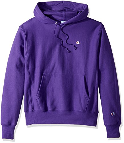Champion LIFE Men's Reverse Weave Pullover Hoodie, Purple/Left Chest C Logo, Large