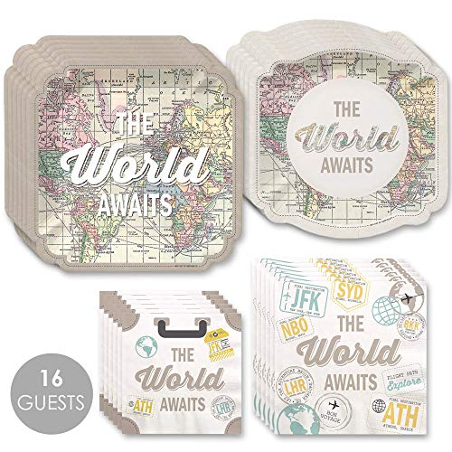 Dessert Road Plates - World Awaits - Travel Themed Party Tableware Plates and Napkins - Bundle for 16