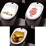 3PCS Christmas Toilet Stickers Toilet Seat Cover Wall Stickers Refrigerator Stickers Toilet Lid Decals