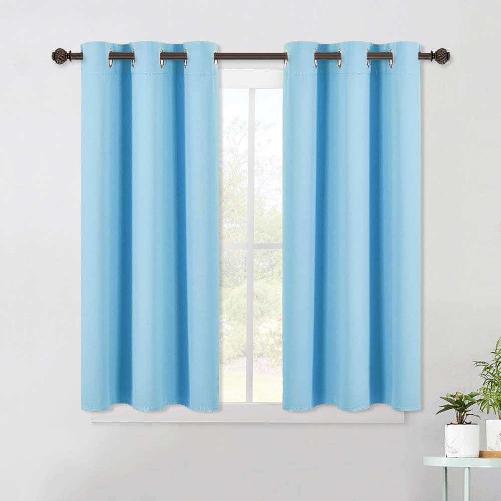 NICETOWN Blackout Panels Window Treatments Eyelet Top Home Fashion Blackout Curtains Tailored Drapes Double Panels, W29 x L36 + 1.2 inches Header, Toffee Brown
