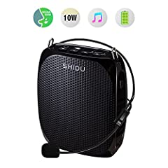 SHIDU portable mini voice amplifier 10W is a favorite device among teachers, tour guides, and outdoor enthusiasts etc. who need to stay in contact with large groups. Its high-power audio and clear sound let you reach any audience with ease. M...
