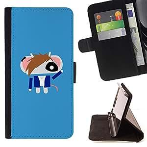 For HTC Desire 820 - Cute Punk Android Mouse /Funda de piel cubierta de la carpeta Foilo con cierre magn???¡¯????tico/ - Super Marley Shop -