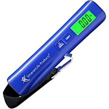 Digital Luggage Scale For Weighing Checked Baggage for Air Travel - Large LED Display - Fast Audible Weight Lock, Very Accurate - Includes Battery, Storage Pouch, Bonus eBook (Marine Blue)