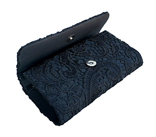 bags women Handbag Floral formal Lace Wedding Bag Clutches evening Black AITING for qvHZxSp