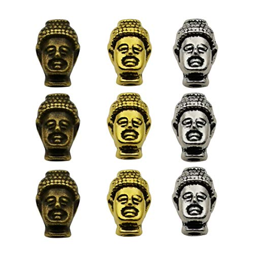 30pcs Antique Silver Bronze Gold Mixed Buddha Head Loose Spacer Bead,Craft Supplies Charms Pendants for Jewelry Findings Making Accessory for DIY Bracelet Necklace - Pendant Buddha Bead