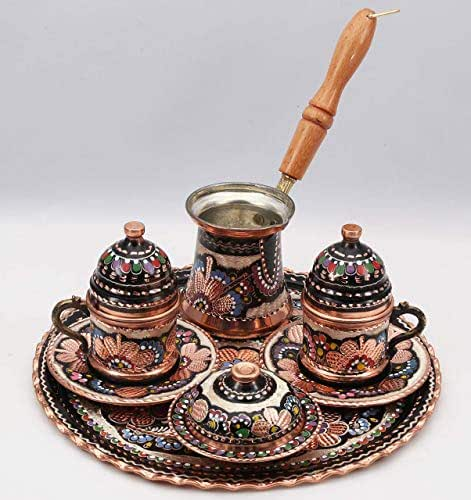 Amazon.com: Traditional Design Handmade Engraved Copper Turkish Armenian Arabic Greek Coffee Set ...