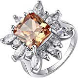 elegantshop Charming Women 925 Silver Morganite Cocktail Ring Wedding Bridal Jewelry Sz 6-10 (8)