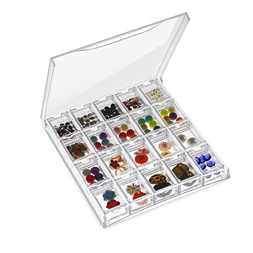(OneDor Clear/Transparent Plastic Storage Organizer for Beads, Rings, Jewelry Accessories, Art, and small DIY crafts. Contains 20 Individual Rectangle Plastic Containers)