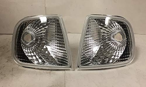 Fits F150 F-150 Heritage Expedition Euro Chrome Housing Clear Lens Corner Light Lamp Signal Upgrade Replacement ()