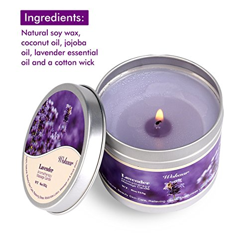 Scented Candles Lavender Aromatherapy Candles Soy Wax Massage Candles Moisturizing For Spa,Skincare Massage and Stress Relief Natural Essential Oil Low Temperature Candles,6 oz/115g
