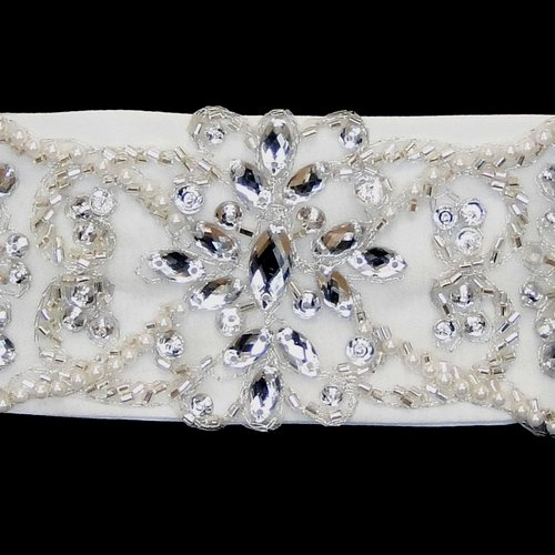 Rhinestone, Pearl & Glass Bead Satin Wedding Bridal Sash Belt - Ivory by Fairytale Bridal Accessories